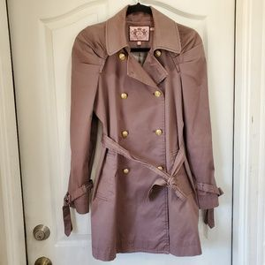 JUICY COUTURE Taupe Trench Coat w gold buttons